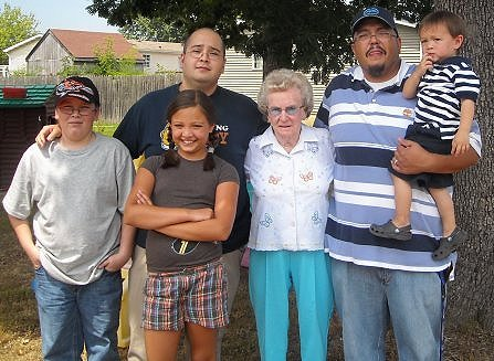 My nephew, me, my niece in front, my grandmother, my older brother and my other nephew.
