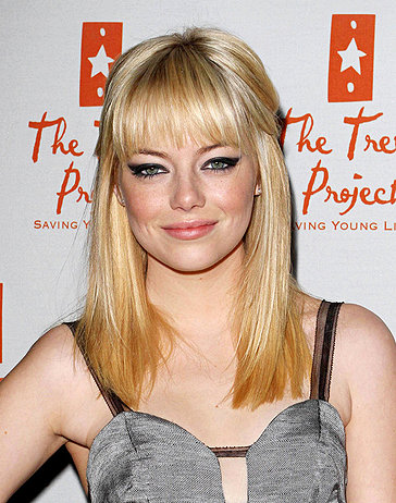 emma stone blonde updo. makeup Emma Stone Goes Blonde!