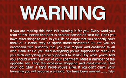 Fight Club - A Warning from Tyler